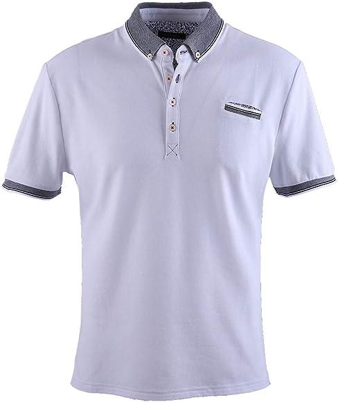 0121Voray Ga Polo Hombre algodón Granito Cuello botón y Bolsillo ...