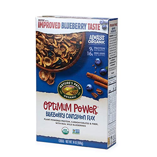 Nature's Path Optimum Power Blueberry Cinnamon Flax Cereal, Healthy, Organic, 14 Ounce Box (Pack of 6) - Grain Whole Path Natures