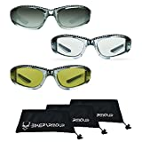 Chrome Frame Anti Glare Mirrored Motorcycle Sunglasses with Rhinestones Foam Padded for Women (Mirror Smoke Black + Clear Black + Yellow Black Combo)