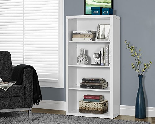 Monarch Specialties White Hollow-Core Bookcase/Adjustable Shelves, 48-Inch