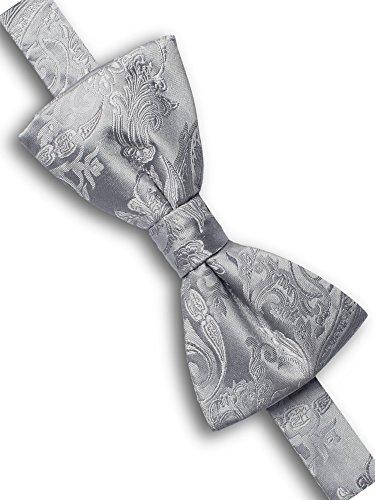 ORIGIN TIES Men's Fashion 100% Silk Wedding Paisley Butterfly Bow Tie Night Gray