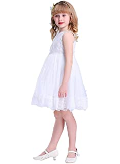 Amazon happy rose ivory cream light brown white vintage lace bow dream ivory off white lace vintage flower girls dress mightylinksfo
