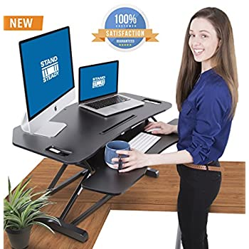 Stand Steady FlexPro Hero Corner Two Level Standing Desk Converter - Easily Sit to Stand in Seconds! Large Work Space with Extra Bonus Level for Keyboard and Mouse! (Corner (37 Inch))