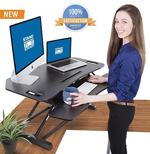 Stand Steady Flexpro Hero Corner Two Level Standing Desk Converter - Easily Sit to Stand in Seconds! Large Work Space with Extra Bonus Level for Keyboard and Mouse! (Corner (37 Inch)) Boss Office Corner Table