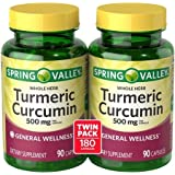 Spring Valley Whole Herb Turmeric Curcumin Dietary Supplement Capsules, 500 mg, 90 count, 2 pk