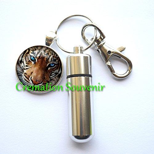 (Tiger CREMATION URN Keychain,Tiger Keepsake urn, Ashes Keepsake, Memorial Gift, Bereavement Gift, Tiger Cremation Jewelry )