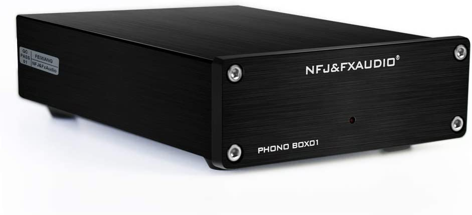 FX AUDIO Box 01 Phono Preamp RCA Input Output MM Phonograph Preamplifier for Turntable DC 12V Low Noise Pre-amp for Home Audio Stereo Recorder Player