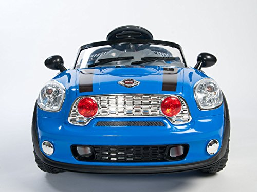 BLUE MINI COOPER STYLE RIDE ON ELECTRIC CAR PARENTAL REMOTE CONTROL Bigger 6V 10Ah Battery & 2 Powerful Motors