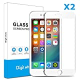 2-Pack iPhone 6 Plus 6s Plus Screen Protector, DIGITWHALE 3D Full Curve Soft Edge Tempered Glass Screen Protector Film for iPhone 6 Plus and iPhone 6S Plus 5.5'-White