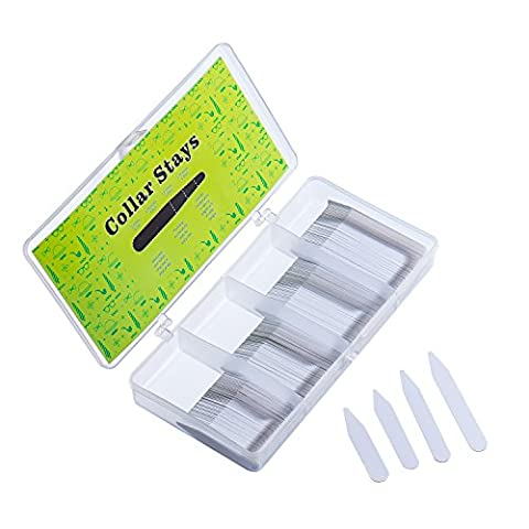 200 White Plastic Collar Stays in Divided Box, 4 Sizes, Men Shirts