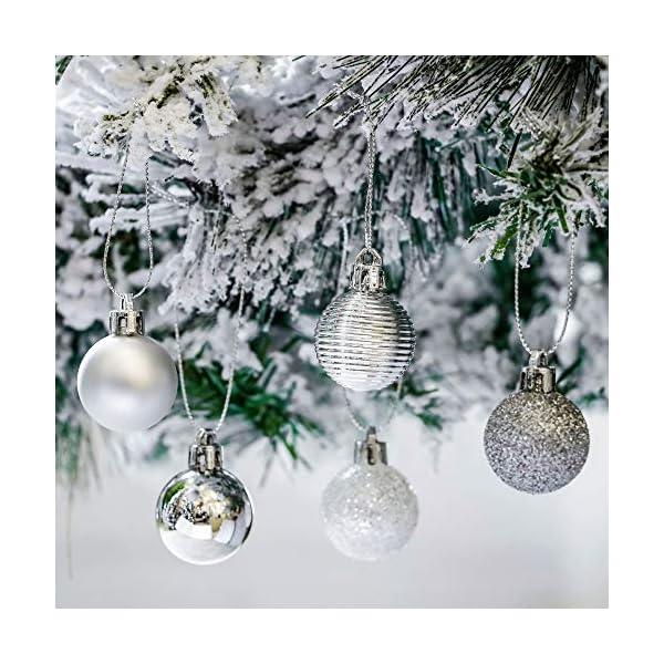 Victor's Workshop 54 Pezzi 3cm Palline di Natale, congelati Inverno Argento e Bianco Infrangibile Palla di Natale Ornamenti Decorazione per la Decorazione Dell'Albero di Natale 4 spesavip