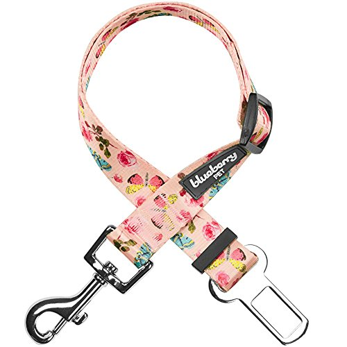 (Blueberry Pet Spring Scent Inspired Rose and Butterfly Print Pastel Pink Adjustable Dog Seat Belt Tether for Dogs Cats, Durable Safety Car Vehicle Seatbelts Leads Use with Harness)