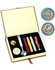 Wax Seal Stamp Set, HOSAIL Starry Dragon Mermaid Sealing Wax Stamp Kit with Wax Sealing Sticks, Wax Melt Spoon, Candles. Great Gift Box for Birthday and Theme Party (Starry Dragon Mermaid)