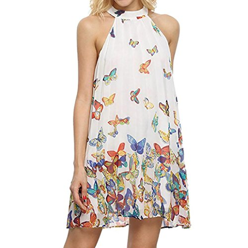 eck Sleeveless Loose Butterfly Printed Chiffon Party Beach Casual Short Mini Dress Plus Size (S, White) (Chiffon Layered Printed Skirt)