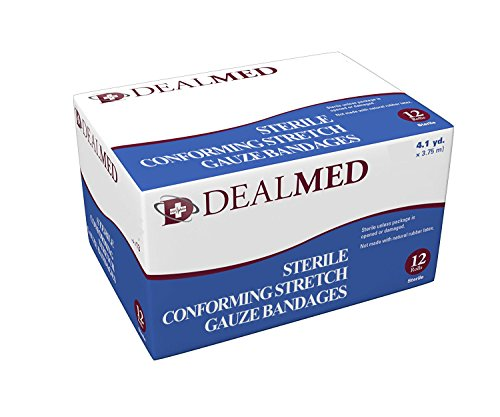 Dealmed Gauze Stretch Bandage Roll, Individually Packed, Sterile, 12 per Box