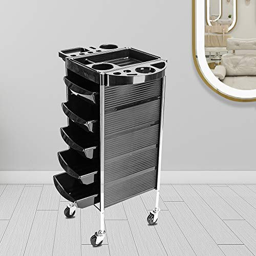 SSLine Salon Trolley 5-Layer Barber Rolling Cart with Drawers Hairdressing Tool Storage Cart Organizer with Wheels Barber Beauty SPA Mobile Salon Trolley Cart with Dryer Holder