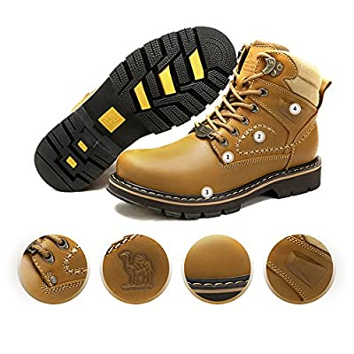 CAMEL CROWN Mens Work Boots Round Toe Leather Insulated Construction Non-Slip Work Shoes High Top Work Safety Shoes Comfortable Martin Boots Casual Shoes Khaki | Boots