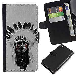 LECELL--Cuero de la tarjeta la carpeta del tirón Smartphone Slots Protección Holder For Sony Xperia Z3 D6603 -- Jefe indio Hombre --