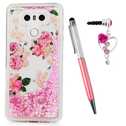 LG G6 Case,Liquid Glitter Case Bling Sparkle Shiny Flowing Moving Pink Love Hearts Cover Clear Ultral Slim Protective TPU Bumper with Stylus Pen Plug Dust for Girl ZSTVIVA - Red Rose Flowers - Kit Clutch Discount
