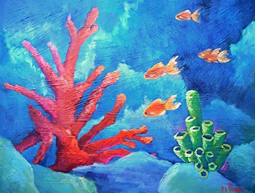 Seascape Oil Painting Large Coral Reef Textured (Fish Oil Paintings)