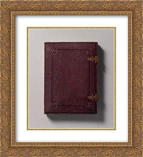 Photographic Art - 20x22 Gold Ornate Frame and Double Matted Museum Art Print - Man Holding Book, Standing Before a Painted Scenic Backdrop
