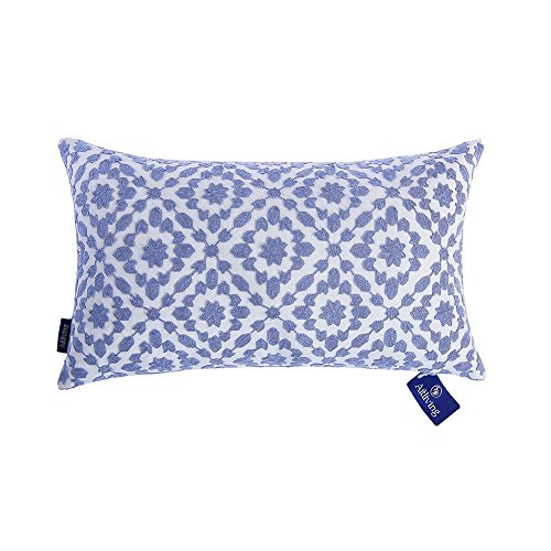 Aitliving Throw Pillow Cover Cotton Canvas 1 pc Trellis Mina Decorative Lumbar Pillow Cushion Cover Blue 12x20 inches(30x50cm)