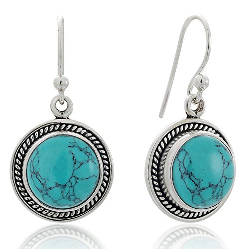- 925 Sterling Silver Blue Turquoise Gemstone Rope Edge Round Dangle Hook Earrings 1.2