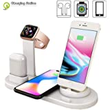 4 in 1 Wireless Charging Station for iPhone X/XR/Xs Max / 8/7/6 / Samsung/AirPods/Apple fast multi-device Wireless Charging Dock Holder Station,White