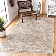 Safavieh Natural Kilim Collection NKM316B Flatweave Natural and Ivory Wool Area Rug (10' x