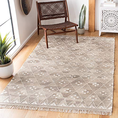 Safavieh Natural Kilim Collection NKM316B Flatweave Natural and Ivory Wool Area Rug (5' x 8') (Kilim Rugs Area)