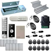 Visionis FPC-5659 One Door Access Control Inswinging Door 1200lbs Maglock with VIS-3005 Outdoor Weatherproof Metal Touch Slim Keypad/Reader Standalone No Software with Wireless Receiver and PIR Kit