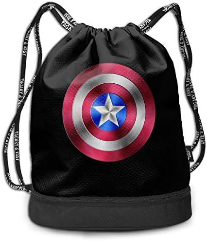 Captain Americaキャプテン・アメリカ2 大容量 クファッション印刷 バックパッ男女兼用 バックパック小新鮮 旅行スポーツバッグ 防水スイミングバック学生バッグ 多機能 収納バックパッ