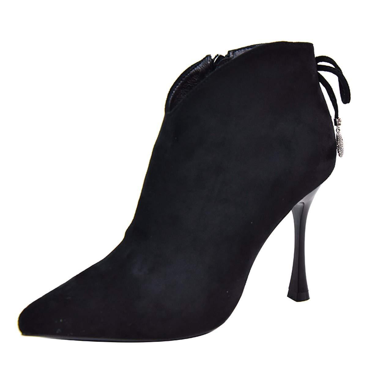 KPHY Damenschuhe Gut Bei Fuß Verwies Absatz 10 cm Hoch Stiefel Seite Reißverschluss Sexy Spitzen Mit Stiefeln Martin Stiefel