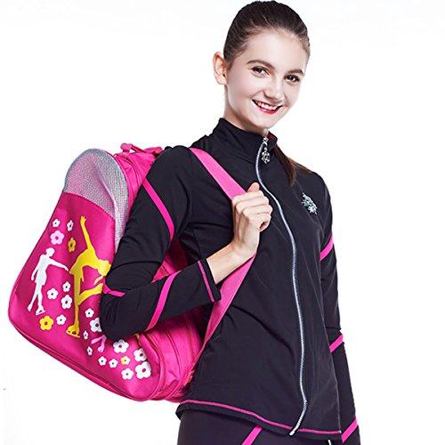 In Hockey Gloves Line (Roller Bag Skate Bag Hockey Bag Ice Roller Skates Carry Bag Pocket Accessories (Pink))