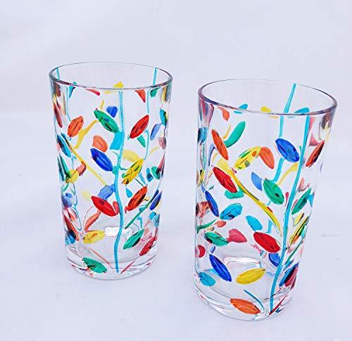 Water Glasses, Flowervine Venetian Glass, Set of 2