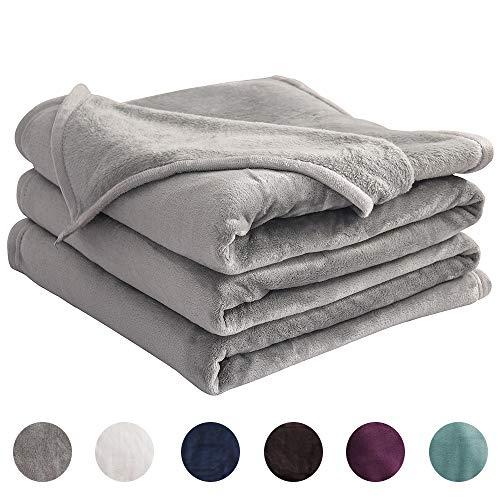 LIANLAM Fleece Blanket Lightweight Super Soft and Warm Fuzzy Plush Cozy Luxury Bed Blankets Microfiber (Grey, Queen(90