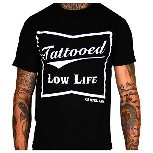 Cartel Ink Men's Tattooed Low Life T-Shirt Black 2XL