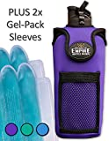 Organized Empire Neoprene Insulated Water Bottle Holder w/Strap + 2 Freezable & Microwave Gel-Pack Sleeves - Travel Cooler or Baby Bottle Warmer. Sports Drink Carrier Protects Glass - Purple