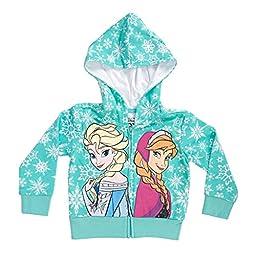 Disney Frozen Snowflakes Sisters Girls Mint Green Zip-Up Hoodie Sweatshirt | 3T