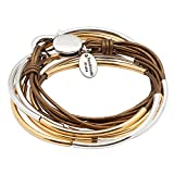 Lizzy Classic Gold & Silver 4 Strand Metallic Bronze Leather Wrap Bracelet (MEDIUM)