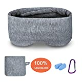 Modal Cotton Travel Sleep Mask, Eye Mask with Longer Adjustable Strap for Women Men and Kids, Fully Coverage with Earplugs, Hanger and Travel Pouch, Deep Grey