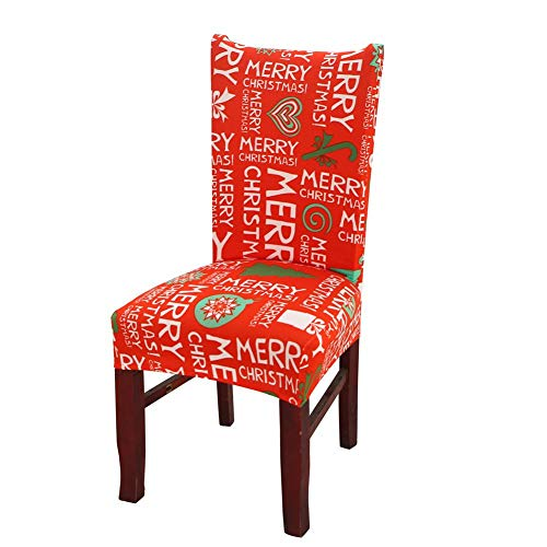 blue--net Merry Christmas Spandex Stretch Dining Room Chair Covers Kitchen Chair Covers Christmas Decoration Festive Favor for Holiday Party Festival Halloween Kitchen Dining Room Chairs -