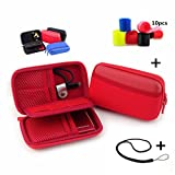 MeetRade Electronics Organizer Travel Carry Bag Accessories Cable Tie Gadget Gear Storage Cases For Various USB, Phone, Charger and Cable Memory Cards, Flash Hard Drive (red)