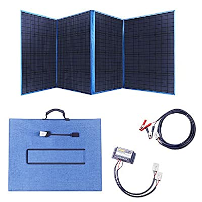 MEGSUN 200W 12V Portable Folding Solar Panel with a 15A Solar Charge Controller for Camper, Motorhome Rallies, Mobile Offices 12V System (Blue)