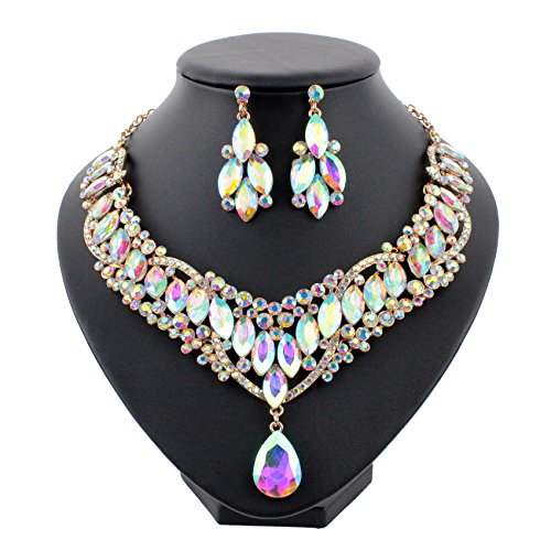 (Janefashions Bright AB White Austrian Rhinestones Crystal Bib Statement Necklace Dangle Earrings Bridal Jewelry Set Party Prom Pageant Teardrop Sexy Twinkling Gold Tone N929ab)