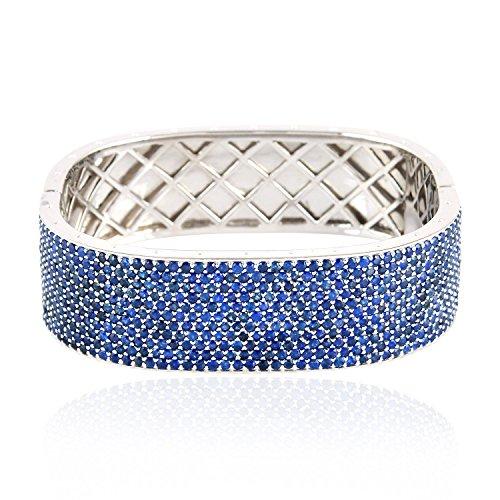 Mettlle 925 Sterling Silver and Blue Sapphire Bangle Designer Bracelet