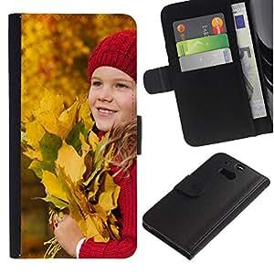 For HTC One M8,S-type® Baby Autumn Kid Baby Leaves Riding - Dibujo PU billetera de cuero Funda Case Caso de la piel de la bolsa protectora