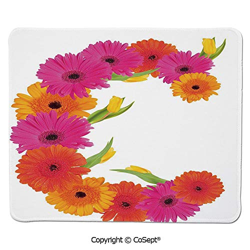 Mouse Pad,Vivid Floral Bouquet Blossom Season Inspired Florets with Tulip Flower Decorative,for Laptop,Computer & PC (15.74