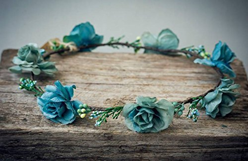 Amazon.com: Turquoise Flower Headband For Girls Handmade Floral ...