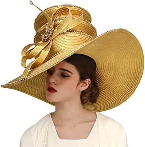 ede63b326bb Kueeni Women Hats Church Hats Exaggeration Designer Fashion Lady Wide Brim  Hats